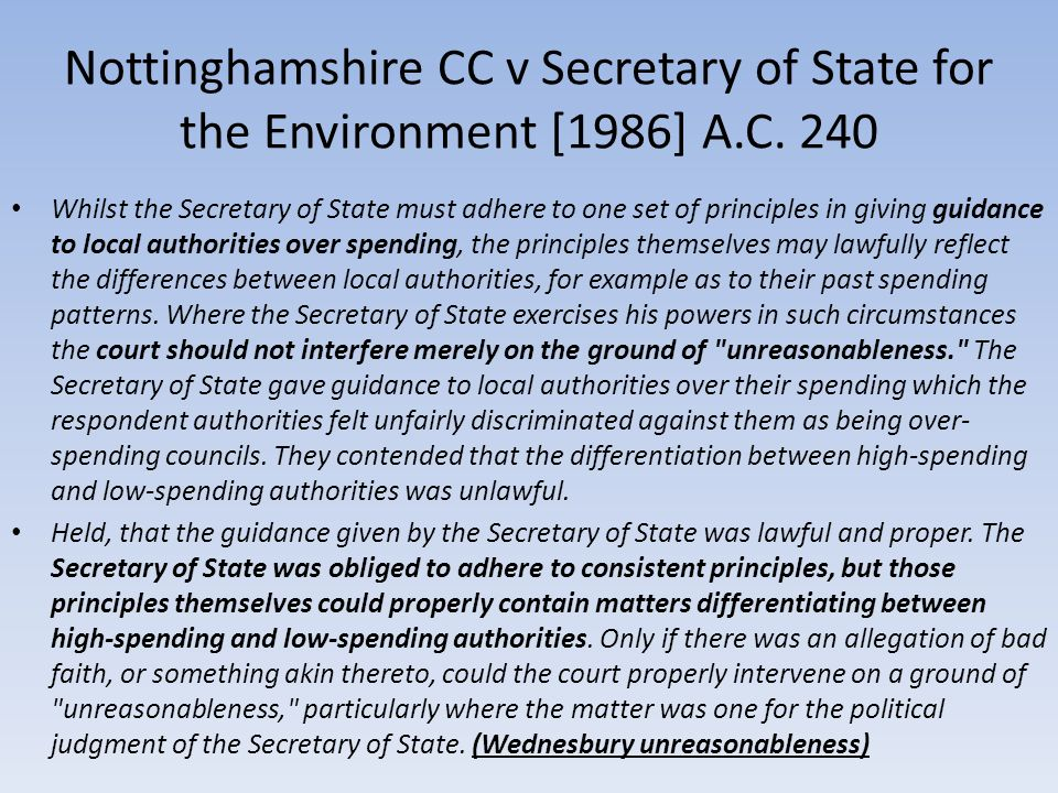 Nottinghamshire CC v Secretary of State for the Environment [1986] A.C. 240